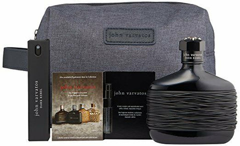 John Varvatos Dark Rebel Gift Set (4.2oz/125ml EDT+Travel Spray 17ml+1.5 ml+Bag)