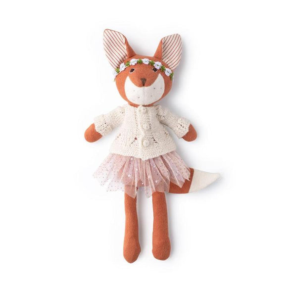 Hazel Village Animal - Flora Fox in Ivory Sweater, Firefly Tutu and Pink Flower Crown