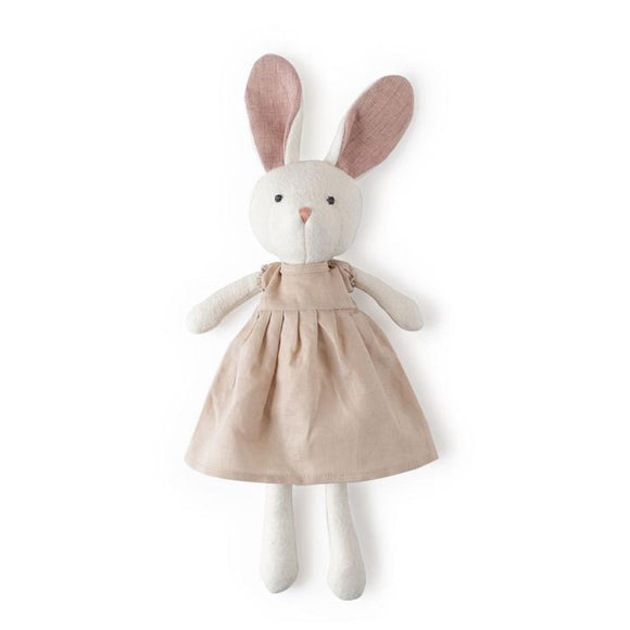 Hazel Village Animal - Emma Rabbit in Peach Linen Dress