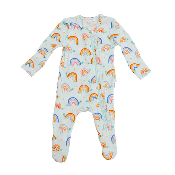 Angel Dear Ruffle Zipper Footie - Rainbow Turtles