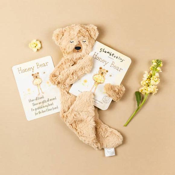 Slumberkins Honey Bear Snuggler with board book