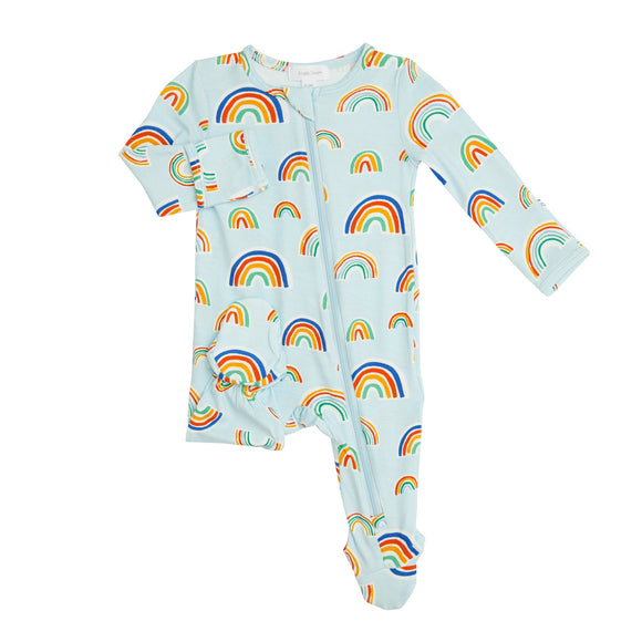 Angel Dear Zipper Footie - Rainbows (Blue Multi)