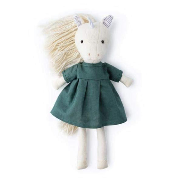 Hazel Village Animal - Peaseblossom Unicorn in Green Linen Dress