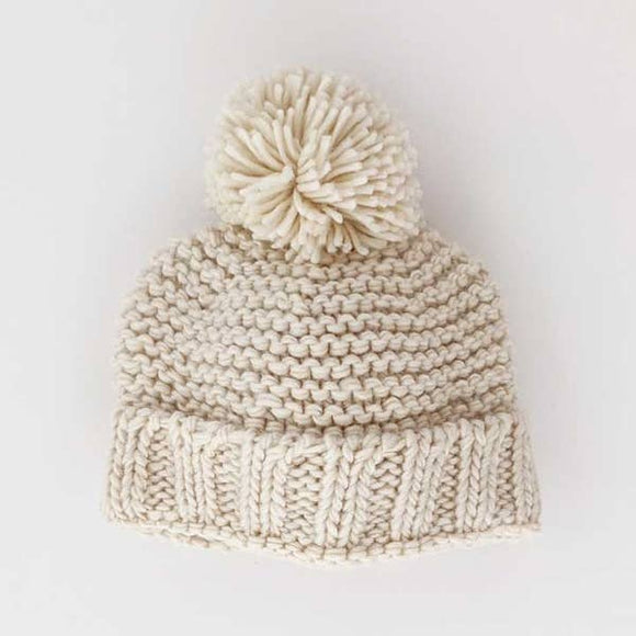 Huggalugs Beanie Hat - Natural Garter Stitch