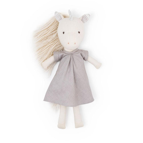 Hazel Village Animal - Peaseblossom Unicorn in Lavender Linen Dress
