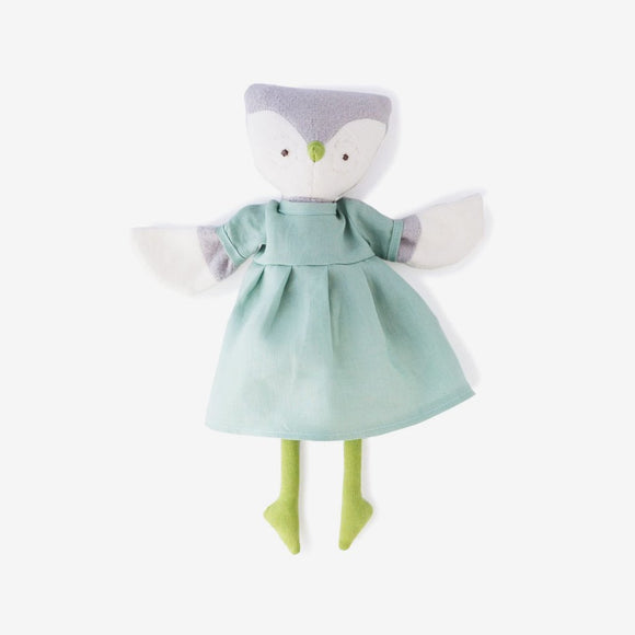 Hazel Village Animal - Lucy Owl in Green Linen Dress