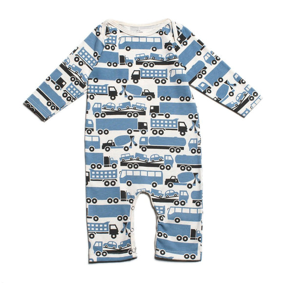 Winter Water Factory Long Sleeve Romper - Big Rigs Blue