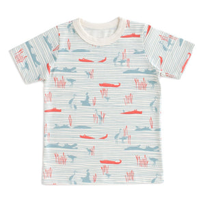 Winter Water Factory Short Sleeve Tee - Hippos & Crocodiles