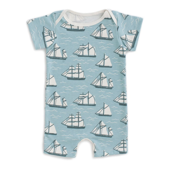 Winter Water Factory Summer Romper - Vintage Sailboats