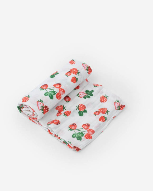 Little Unicorn Cotton Muslin Swaddle - Strawberry Patch