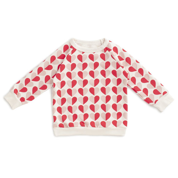 Winter Water Factory Sweatshirt - Hearts Red & Pink