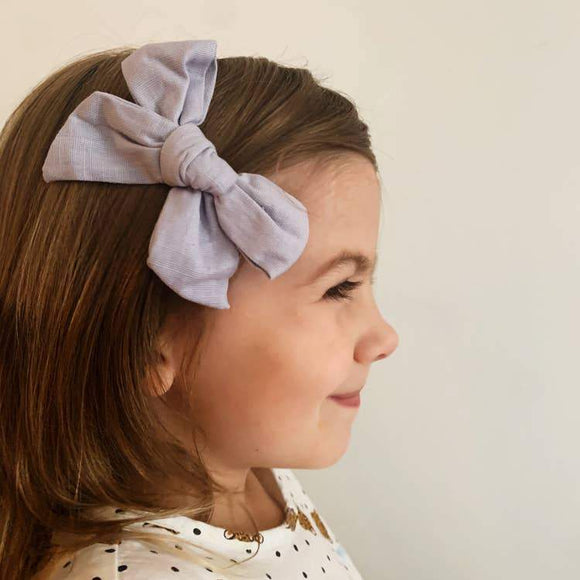 Wild Juniper Little Girl Fall Bow - Chambray Bow Clip