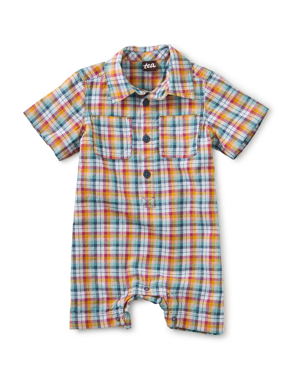 Tea Collection Buttoned Baby Romper - Spring Plaid