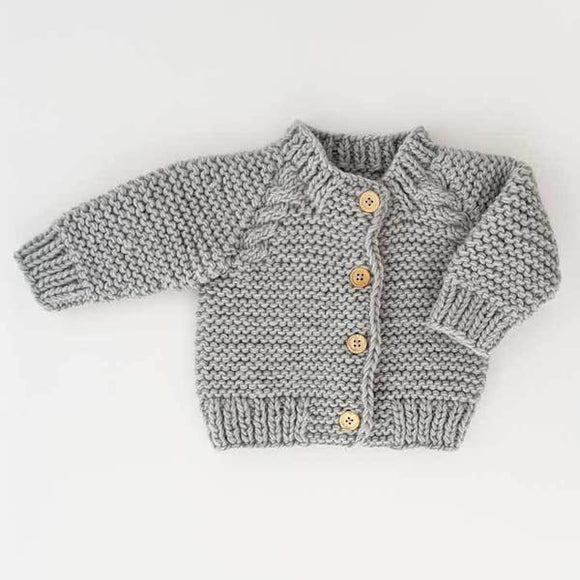 Huggalugs Cardigan Sweater - Light Grey Garter Stitch