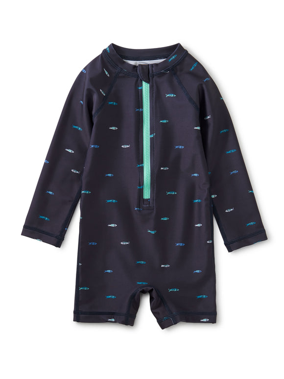 Tea Collection Rash Guard Baby Swimsuit - Sardines in Indigo