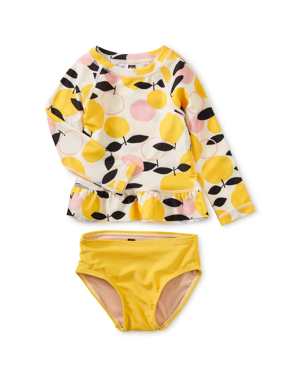Tea Collection Ruffle Rash Guard Baby Swim Set - Lemon Drop