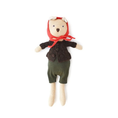 Hazel Village Animal - Nicholas Bear Cub in Romper + Sweater + Bonnet