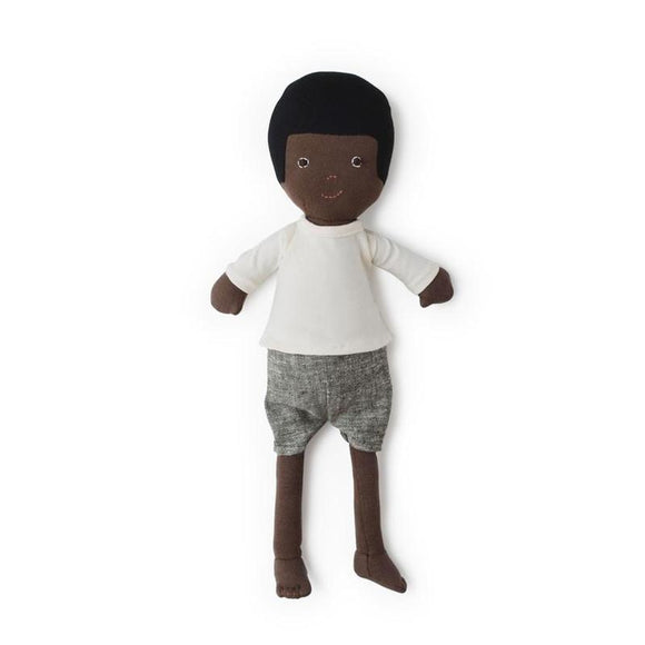 Hazel Village Doll - William in Ivory Knit Shirt + Gray Linen Shorts