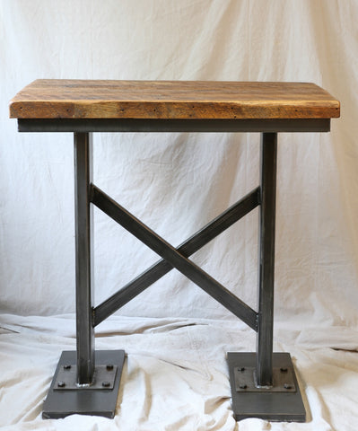 Industrial base iron and barnwood pub table SOLD