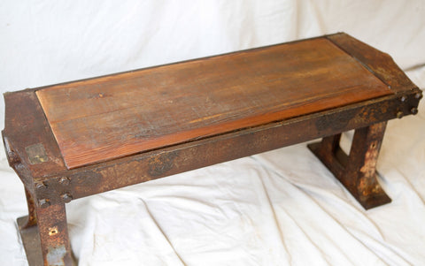 Industrial apple press base coffee table/bench SOLD