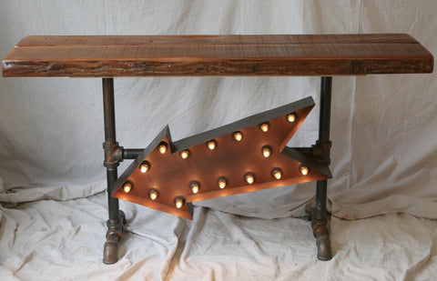 Industrial base vintage lighted arrow table