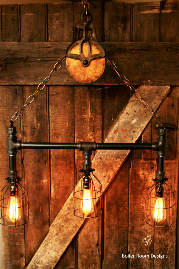Industrial black pipe 3-light chandelier