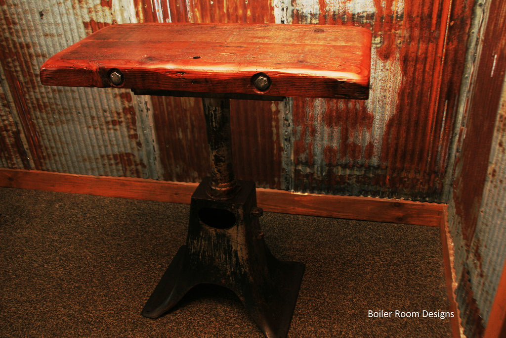 Industrial base reclaimed barnwood table
