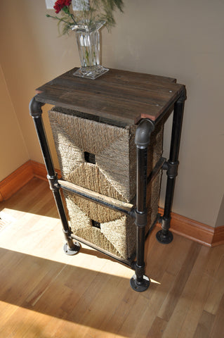 Blackpipe and reclaimed wood storage unit-SOLD