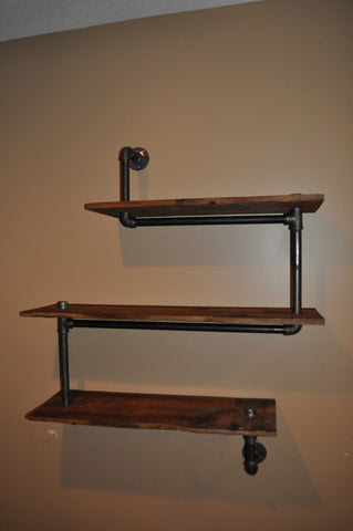Asymmetrical Blackpipe and barnwood bookshelves-SOLD