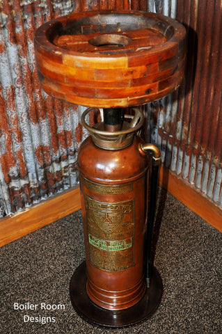 Vintage brass fire extinguisher wood pulley table