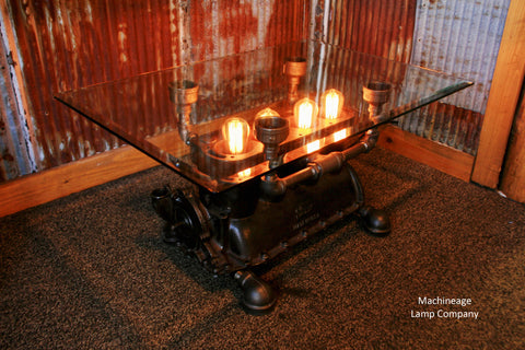 Vintage re-purposed lighted Ford Model T coffee table