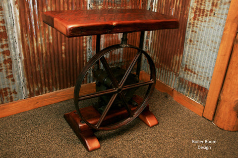 Vintage industrial wheel pump jack table