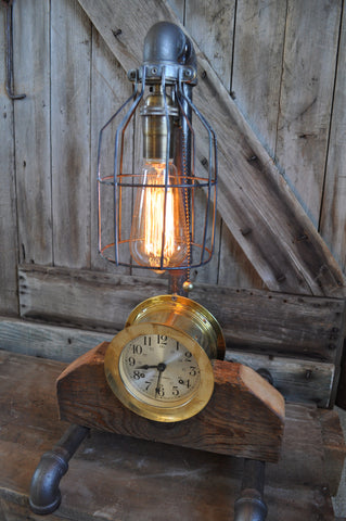 Industrial Steampunk Machine Age Seth Thomas Ships Bell Clock Lamp