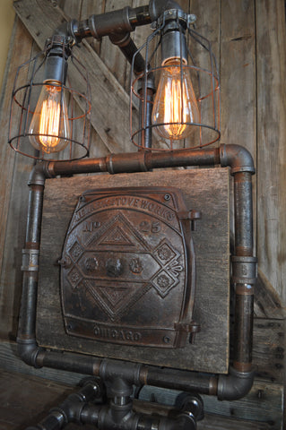 Industrial Steampunk Machine Age Vintage Stove Door Lamp SOLD