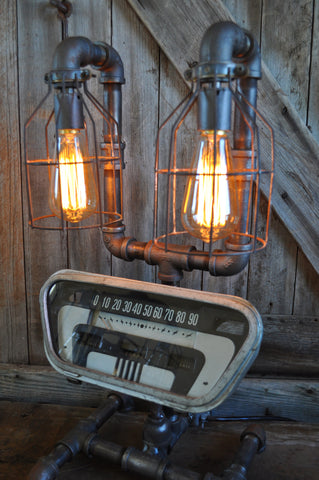 Industrial Steampunk Machine Age Vintage Ford Speedometer Lamp SOLD