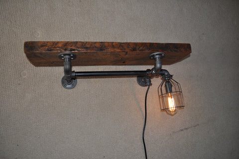 Blackpipe and barnwood coat shelf with light
