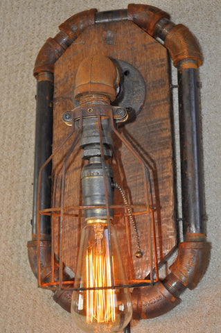 Industrial Steampunk Machine Age Octogon Wall Sconce Lamp SOLD