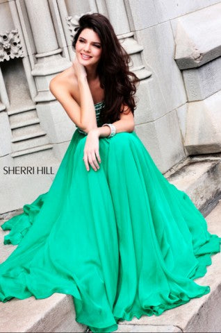 eef89e68208 Sherri Hill Dress 1539 modeled by Kendall and Kylie Jenner at RaeLynn s in  Indianapolis