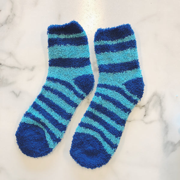 Snuggle Up- Striped Short Fuzzy Socks (Multiple Colors)