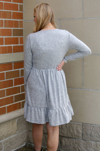 Signature Style- Tiered Dress Heather Grey