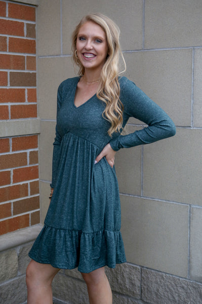 Signature Style- Tiered Dress Hunter Green