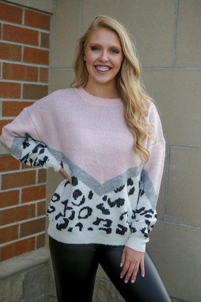 Are You Kitten Me- Leopard Color Block Sweater
