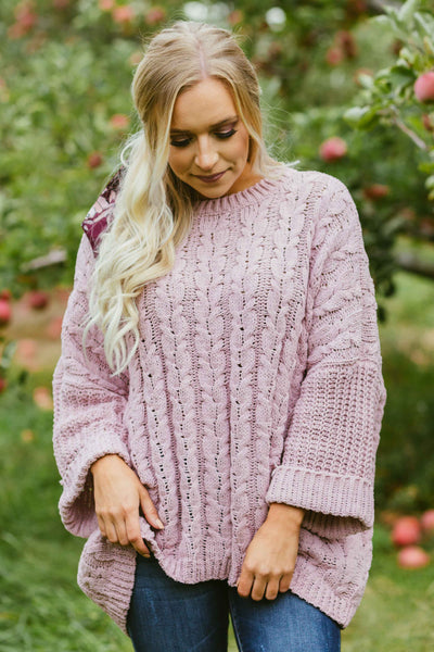 A Little TLC- Chenille Cable Knit Sweater Mauve