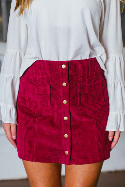 Never Better- Corduroy Mini Skirt w/ Buttons