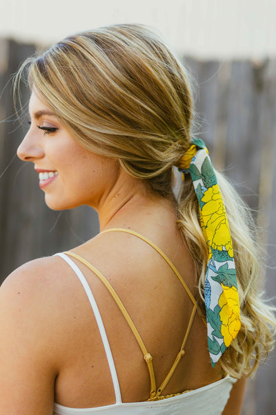 Fall Florals- Yellow Hair Scarf