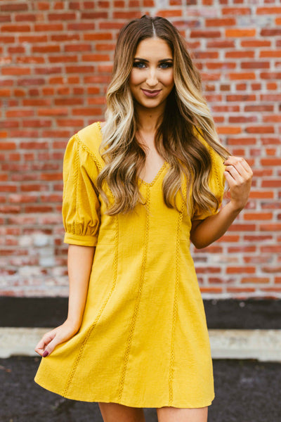 No Worries- Bubble Sleeve Dress Mustard