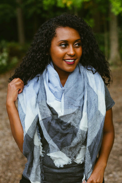 Autumn Plaid Scarf- Grey/Periwinkle