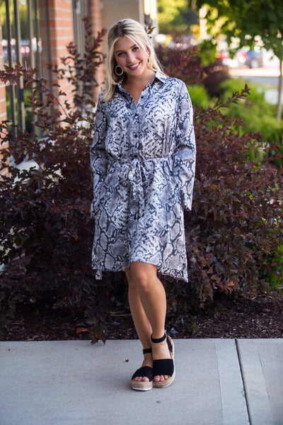 Chic As Can Be-Snake Print Button Down Dress