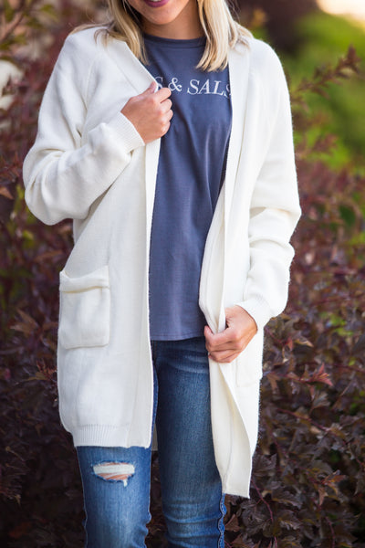 Dreamer-Raglan Long Sleeve Cardigan Ivory