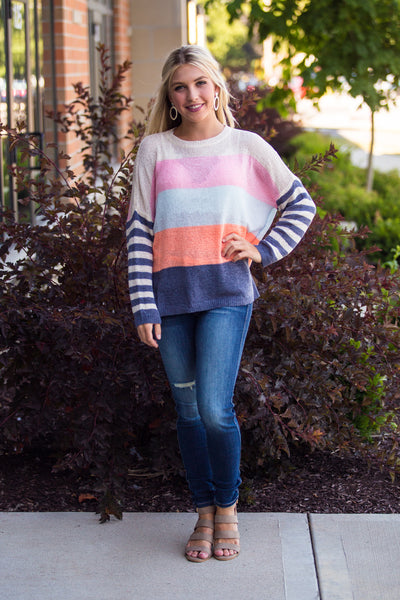 Nothing On You-Colorblock Striped Boyfriend Sweater